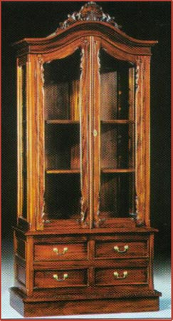 Chippendale Display Cabinet 4 Drawer