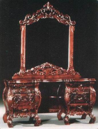 Rococo Dressing Table with Mirror + Stool