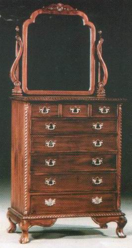 Chippendale 8 Drawer Dresser and Mirror