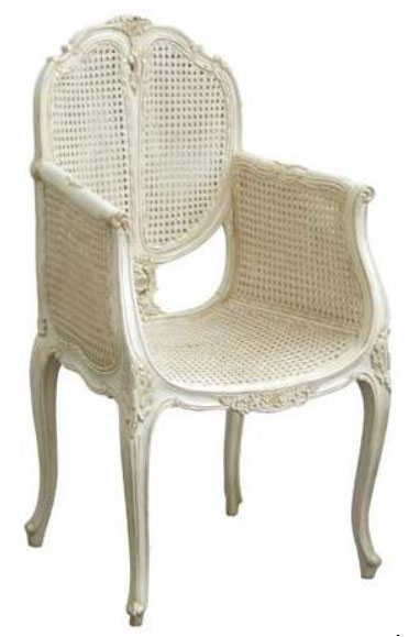 French Chair Carved w/Rattan