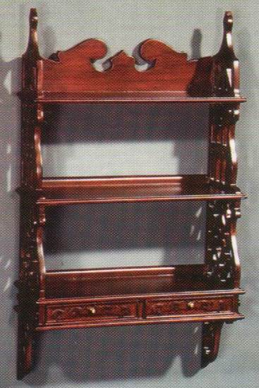 Wall Rack 2 Drawer Carved